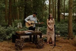 camp katur woodland wedding ceremony guitarist